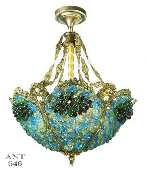 Antique Bohemian Bowl Chandelier Blue Green Glass Bead Light (ANT-646)