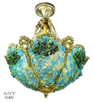 Antique-Bohemian-Bowl-Chandelier-Blue-Green-Glass-Bead-Light-(ANT-646)