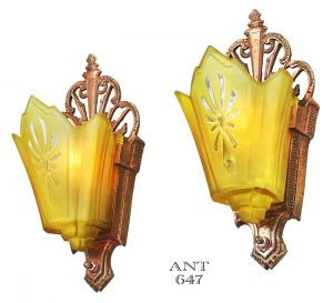 Art Deco Antique Wall Sconces Circa 1930 Slip Shade Lights Fixtures (ANT-647)