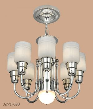 Streamline or MidCentury Modern Chandelier Nickel 8 Arm Ceiling Light (ANT-650)