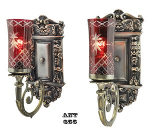 Edwardian Antique Wall Sconces Pair Victorian Style Lights Fixtures (ANT-655)