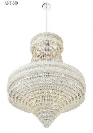 Large-Crystal-Chandelier-Nickel-22-Light-Tent-and-Waterfall-Tier-Form-(ANT-659)