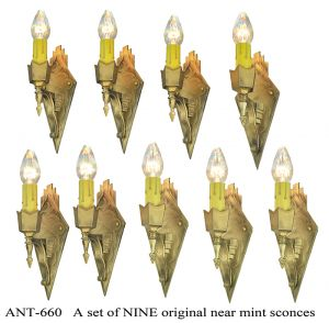 Art Deco Wall Sconces Set of 9 Bare Bulb Candle Style Lights Fixtures (ANT-660)