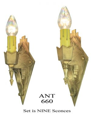 Art-Deco-Wall-Sconces-Set-of-9-Bare-Bulb-Candle-Style-Lights-Fixtures-(ANT-660)