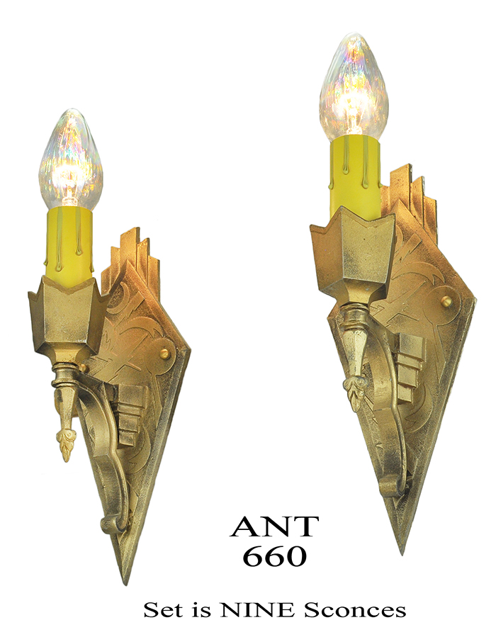 Art Deco Wax Candle Wall Sconces : Vintage Hardware & Lighting