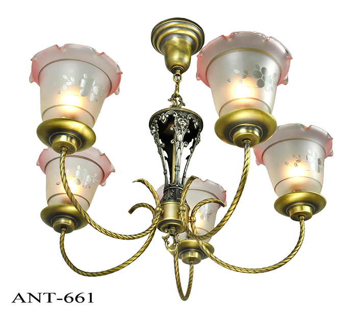 Vintage hardware lighting edwardian chandelier 5 arm ceiling vintage hardware lighting edwardian chandelier 5 arm ceiling light fixture circa 1920 lighting ant 661 mozeypictures Gallery