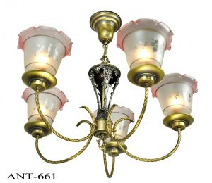 Edwardian-Chandelier-5-Arm-Ceiling-Light-Fixture-Circa-1920-Lighting-(ANT-661)