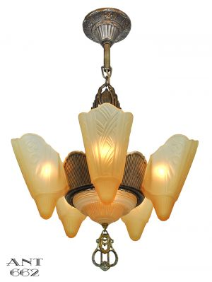 Art-Deco-Streamline-Chandelier-Six-Light-Slip-Shade-Ceiling-Fixture-(ANT-662)