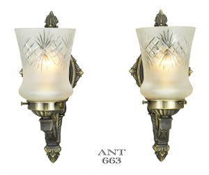 Edwardian-Wall-Sconces-Pair-of-Antique-Lights-and-Cut-Glass-Shades-(ANT-663)