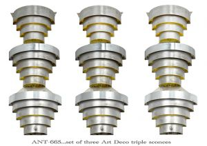 Art Deco Streamline Wall Sconces Set of 3 Early Modern Light Fixtures (ANT-665)