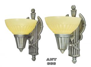 Art Deco Streamline Wall Sconces Pair of 30s Romanesque Design Lights (ANT-666)