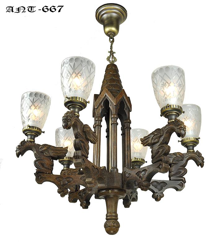 Vintage Revivals Light Fixture: Victorian Gothic Renaissance Revival Griffin Chandelier 6