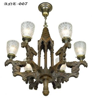 Victorian-Gothic-Renaissance-Revival-Griffin-Chandelier-6-Arm-Light-(ANT-667)