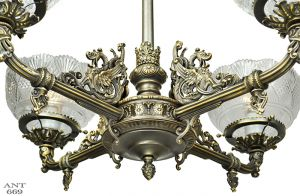 Victorian-Gasolier-Style-Dragon-Chandelier-4-Arm-Ceiling-Light-1900s-(ANT-669)