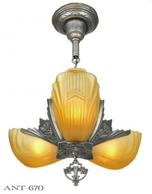 Art-Deco-Chandelier-3-Slip-Shade-Ceiling-Light-Fixture-1930s-Markel-(ANT-670)
