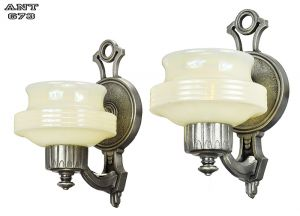 Art Deco Streamline Style Wall Sconces Pair Antique Lights Fixtures (ANT-673)