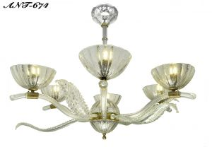 Art-Deco-Streamline-Chandelier-Antique-French-6-Arm-Glass-1930s-Light-(ANT-674)