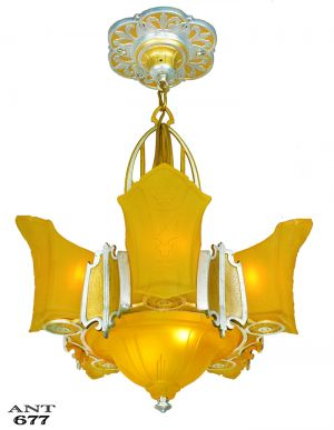 Antique Art Deco Chandelier 6 Shade Ceiling Light Fixture Circa 1935 (ANT-677)