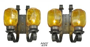 Rustic-Wall-Sconces-Pair-of-Steel-Iron-Lights-2-Double-Arm-Fixtures-(ANT-679)