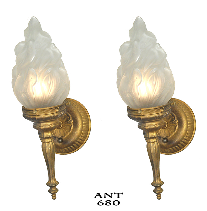 Flame Torch Style Wall Sconces Old Gold Color Vintage Lights Fixtures Ant 680