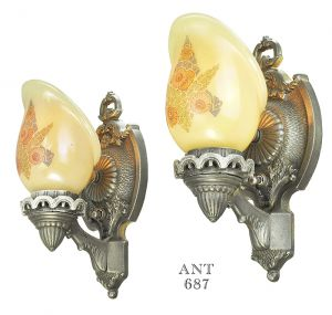 Antique Wall Sconces Pair 1920s Lights with Custard Shades Lightolier (ANT-687)