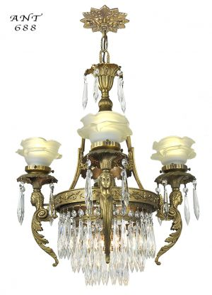 French Crystal Chandelier Antique 4 Arm Figural Ceiling Light Fixture (ANT-688)