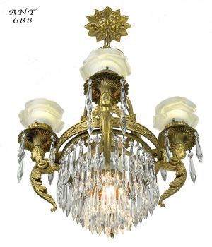 French-Crystal-Chandelier-Antique-4-Arm-Figural-Ceiling-Light-Fixture-(ANT-688)