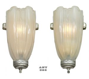 Art-Deco-Streamline-Wall-Sconces-30s-Slip-Shade-Lights-Pair-Fixtures-(ANT-689)