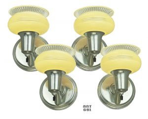 Art Deco Streamline Wall Sconces Set 4 Lights 1930s Nickel Fixtures (ANT-691)