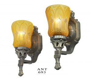 Antique Wall Sconces Pair of Edwardian Style Lights with Amber Shades (ANT-693)
