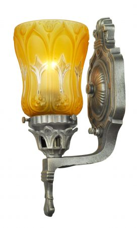 Antique-Wall-Sconces-Pair-of-Edwardian-Style-Lights-with-Amber-Shades-(ANT-693)
