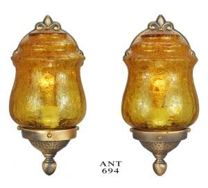 Arts-&-Crafts-Style-Wall-Sconces-Pair-Bronze-and-Crackle-Glass-Lights-(ANT-694)