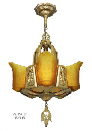 Art Deco Chandelier Antique Light Ceiling Fixture with 5 Slip Shades (ANT-696)