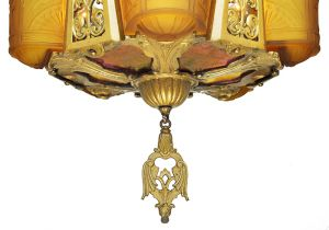 Art-Deco-Chandelier-Antique-Light-Ceiling-Fixture-with-5-Slip-Shades-(ANT-696)