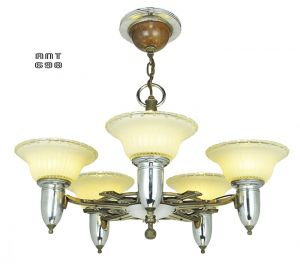 Art Deco Streamline Style Chandelier Antique 5 Light Ceiling Fixture (ANT-698)
