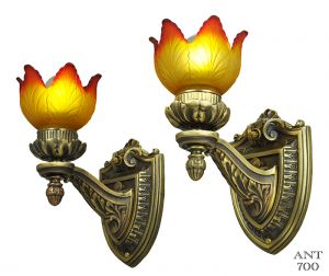 Pair of Edwardian Style Wall Sconces Brass & Bronze Lights Fixtures (ANT-700)