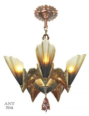 Antique Art Deco Bronze Chandelier Mid West Slip Shade Ceiling Light (ANT-704)