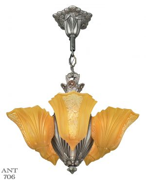Art Deco Chandelier Antique Martele Slip Shade Light by Consolidated (ANT-706)