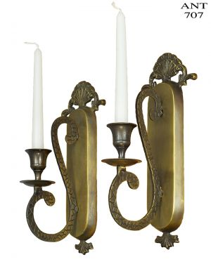 Vintage Pair of Wall Candle Sconces 1 Arm Metal Candlestick Holders (ANT-707)