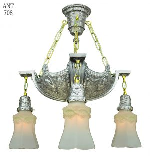 Edwardian Antique Chandelier 4 Light Ceiling Fixture with Cameo Motif (ANT-708)