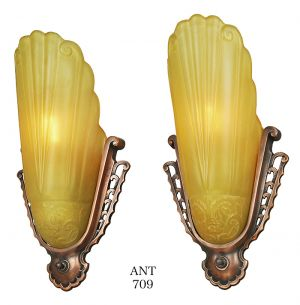 Antique Art Deco Wall Sconces Pair of Virden Slip Shade Lights 1930s (ANT-709)