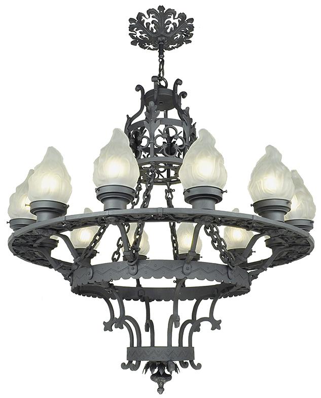 Large 12 Light Chandelier Antique Cast Wrought Iron Ceiling Fixture Ant 711