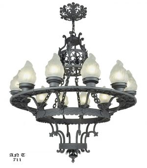Vintage hardware lighting arts and crafts craftsman and large 12 light chandelier antique cast wrought iron ceiling fixture ant 711 aloadofball Image collections