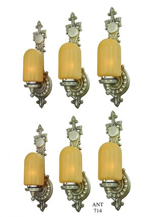 Art Deco Wall Sconces Set of 6 Antique Lights 1920s Lighting Fixtures (ANT-714)