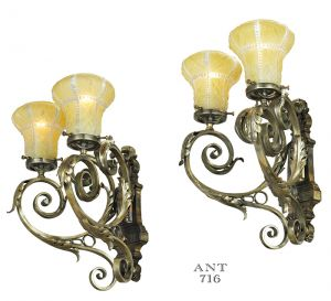 Antique Wall Sconces Pair of Edwardian Double Arm Lights Circa 1920s (ANT-716)