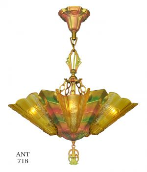 Art Deco Slip Shade Chandelier 1930s Polychrome 5 Light by Frankelite (ANT-718)