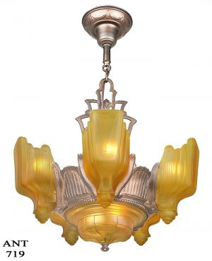 Art Deco 6 Light Chandelier Antique 1930s Slip Shade Ceiling Fixture (ANT-719)