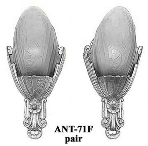 Original Lincoln Fleurette Slip Shade Sconces Pair Frosted Shades C1930 (ANT-71F)