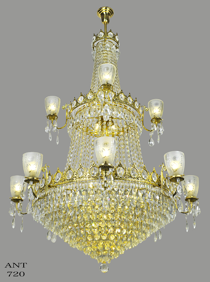 Large Crystal Chandelier Elegant Grand Ballroom Ceiling Light Fixture Ant 720