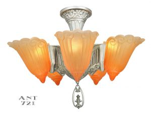 Art Deco Chandelier Antique 5 Light Semi Flush Mount Ceiling Fixture (ANT-721)